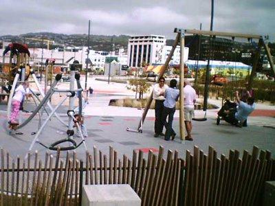 Waitangi Park playground in use before opening