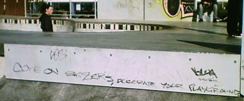 Graffiti at the Waitangi Park skate park - 'Come on Sk8ers, decorate your playground'