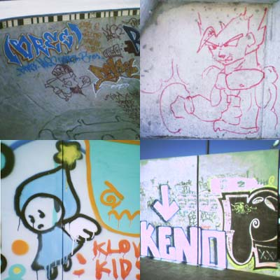 Graffiti at the Waitangi Park skate park - visual montage