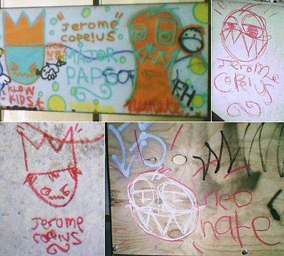 Waitangi skate park - Neonate/Jerome Copeius graffiti montage