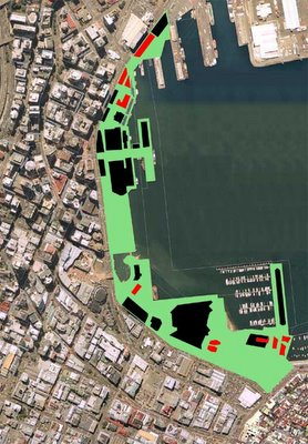 Map of Wellington waterfront showing current and proposed building footprints