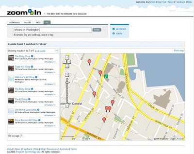 Screenshot of new ZoomIn mapping site