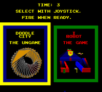 Image of the 'I, Robot' menu screen, giving a choice between the main game and the 'ungame', Doodle City.