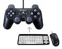 Mouse and keyboard pointing to a JoyPad.