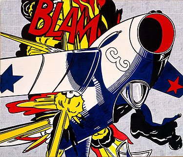 Roy Lichtenstein comic-style image of a plane being shot down in flames, with the caption 'Blam'.