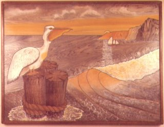 Intarsia woodworking design of a pelican.