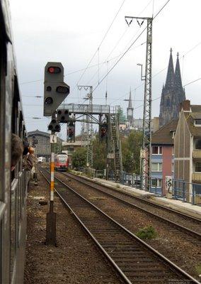 Einfahrt Köln Hbf - Signalbrücke - Kölner Dom