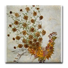 Botanical Art Peacock Tile Coaster