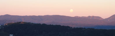 moonrise over wellington, new zealand