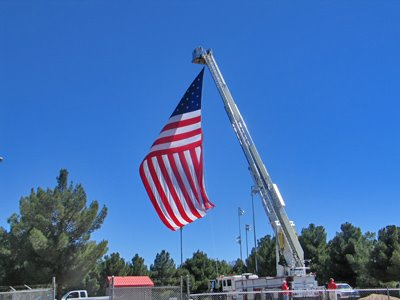 Firetruck Flies Flag