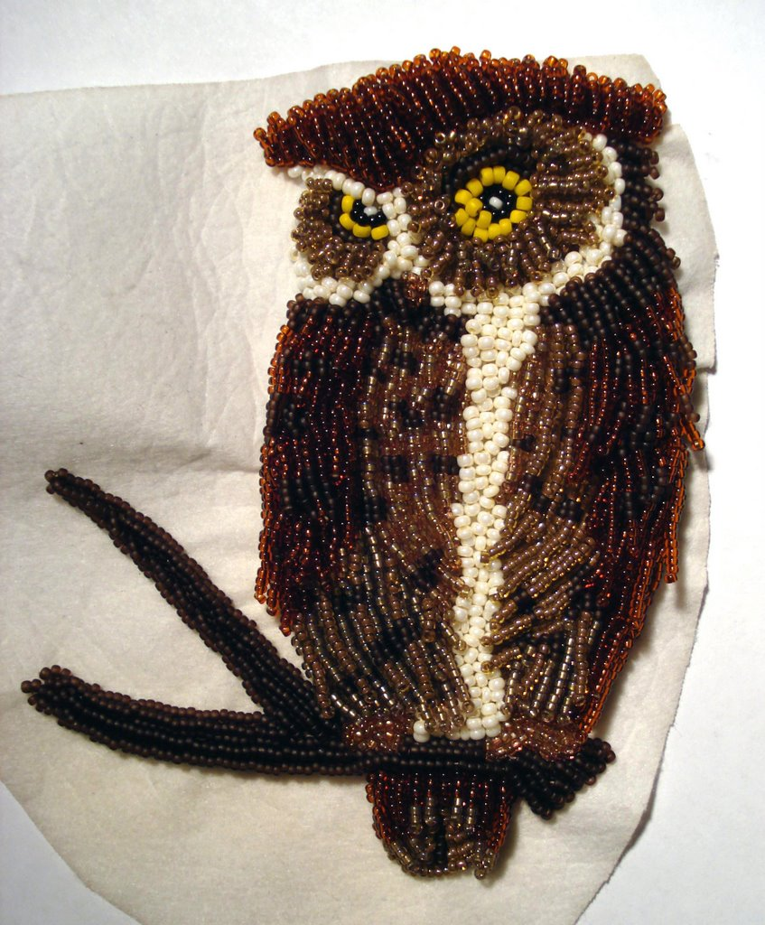 Gt finished owl adventures in bead embroidery