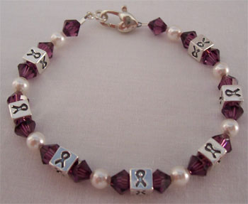 Purple Cystic Fibrosis Awareness Ribbons Bracelet (B033-CF-D1)