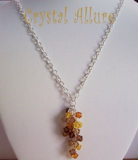 Harvest Falling Leaves Crystal Cascade Necklace (N090)