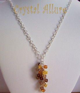 Harvest Falling Leaves Crystal Cascade Necklace (N090)