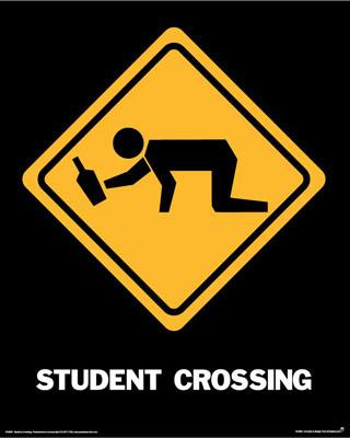 Sinal de perigo 'Student Crossing'