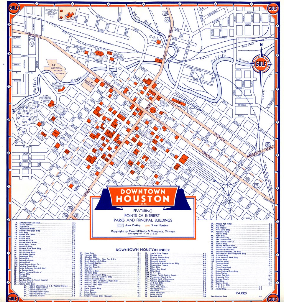 Bayou City History Houston Map Of Downtown Houston