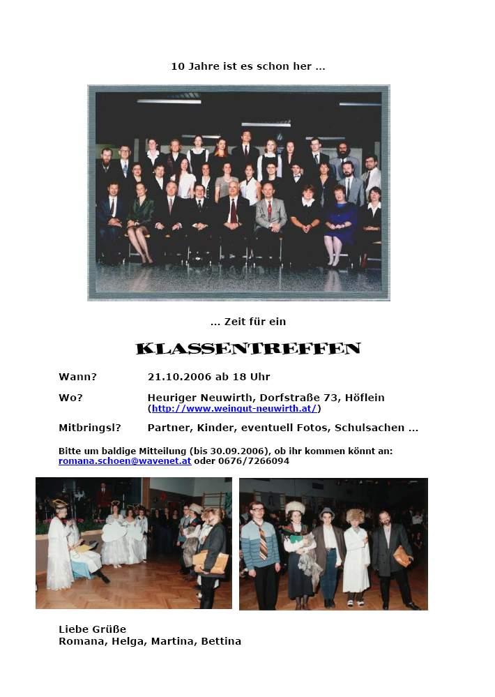 class of 96: oktober 2006, Einladung