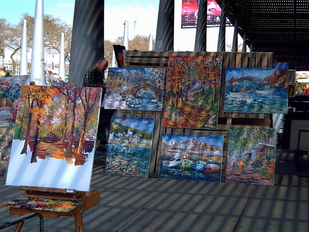 Painting at Port Vell in Barcelona