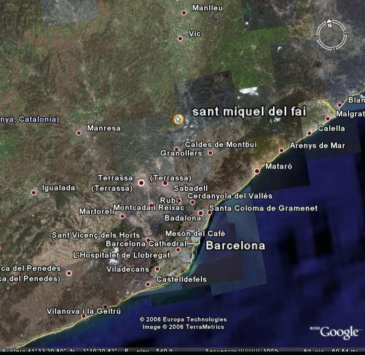 Google Earth Satellite Picture of Sant Miquel del Fai