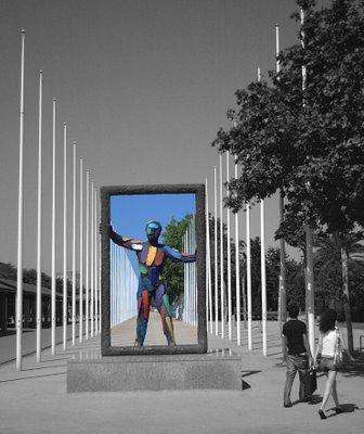 Barcelona Sculpture: Figure Holding Frame at Ronda Litoral