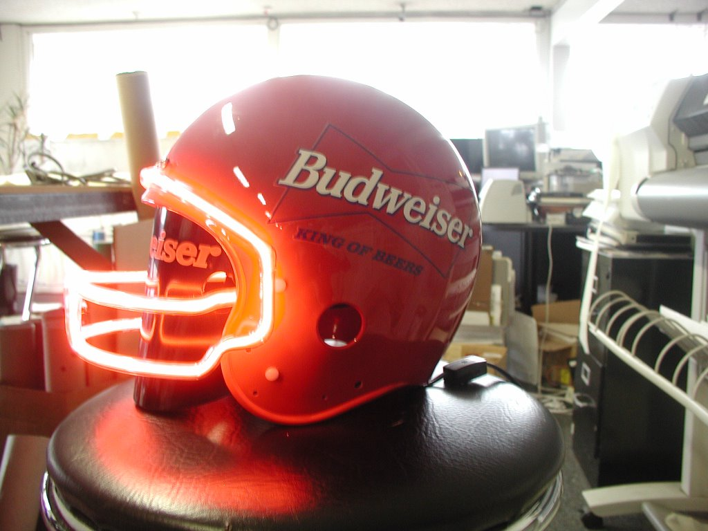 A Budweiser Neon Football Helmet I Cant Fit It On My Head But Would Sure Look Good Your Wall Especially When All The Guys Come