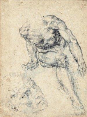Michelangelo Buonarroti (1475-1564) | estudo para «O Juízo Final» (Capela Sistina) | figura de S. Lourenço | desenho a giz negro | c. 1545-6