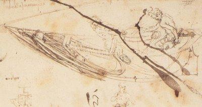 Leonardo da Vinci [1452-1519] | desenho para construção de barco | c.1485-87