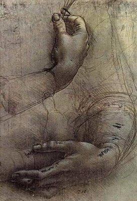 Leonardo da Vinci [1452-1519] | estudo de braços e mãos | c. 1474