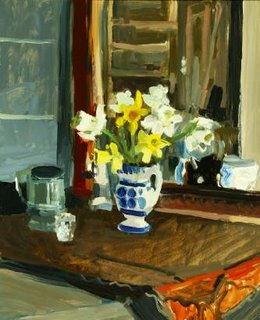 Ben Summerford, Daffodils in blue and white vase