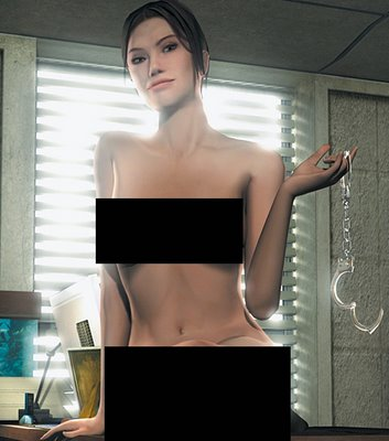 Detective Carla Valenti oversees a manhunt in Atari's Indigo Prophecy, but poses with nothing but handcuffs in the October Playboy.<br />