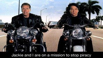 Schwarzenegger & Chan Terminate Piracy