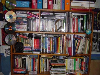 the bookshelf of treasures behind me at my desk