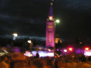 Wow, the Peace Tower, when bathed in pink, looks remarkably phallic. I'm almost expecting it to have a mutual 'session' with the Washington Monument.