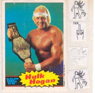 This Hulk Hogan WWF trading card in my sticker album served a dual purpose: it concealed a couple of computer pictures that seemed naughty to my 10-11 year old self in 1985. Hey, did you know computers can show pictures now?