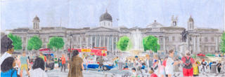 A Drawing of Trafalgar Square and the National Gallery in London in July 2000, drawn in July 2005.