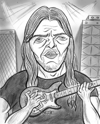 pink floyd caricature - dave gilmour