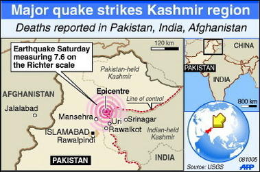 Massive earthquake hits pakistan a map of the earthquake affected areas afp publicscrutiny Image collections