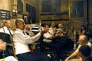 A jazz band performs at Preservation Hall in the French Quarter in New Orleans in this April 26, 2004 file photo. Like most of the French Quarter, Preservation Hall, parts of which date back to a private residence built in 1750 when New Orleans was still a French colony, suffered only minimal damage from Katrina. (AP Photo/Cheryl Gerber)