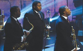 Wynton Marsalis (right) at the Higher Ground benefit concert in September