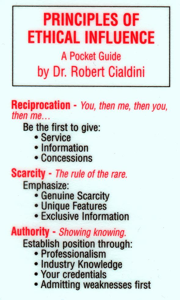 the concept of influence science and practice in six principles of influence by dr robert cialdini Famous psychologists study play aaron beck robert cialdini science and practice and influence: psychology of persuasion.