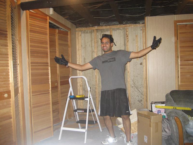 finishing my basement day 1 bringing down wood panels