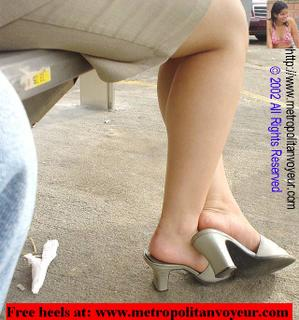 Sitting pearl white colored slip on high heel sandals. Click here for larger image.