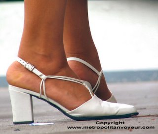 White Strap Pointed Toe Broad Heel Shoes