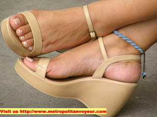 High heel sandals with nice blueish woven anklet. Click to see a mega detailed image.