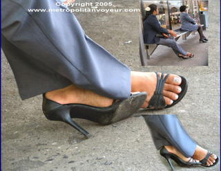 Black cracked sole high heeled sandals. Click to see a larger view