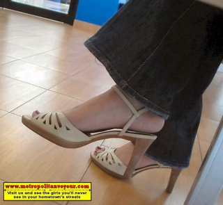 Chinese asian cuttie with high heel beige colored leather ankle strap sandals buying granite floor tiles for her expensive apartment