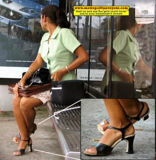 Sitting green unform medicine reseller woman with black sexy high heel insole cushioned leather sandals
