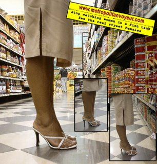 canned food aisle supermarket high heel shoes sandals strap side slit skirt supervisor lady