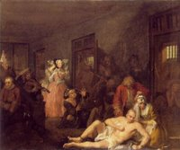 Escena en el interior de Bedlam pintada por William Hogarth en 1735