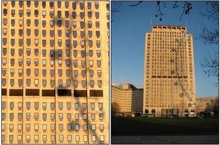 Sombra de una noria sobre el edificio Shell (Londres)